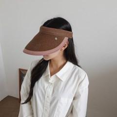 배색 라피아 라탄 자외선차단 꾸안꾸 패션 썬캡 모자