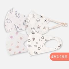 항균동 유아 숨쉬기편한 귀안아픈 일체형 끈형마스크 4개입