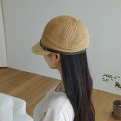 여자 봄 여름 예쁜 밀짚 챙 벨트 뉴스보이캡 모자