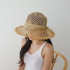 여자 봄 여름 휴양지 휴가 챙 라탄 플로피햇 모자