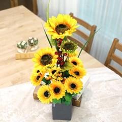 해바라기 작품 조화 큰꽃 해바라기 테라조 화분_(2563681)