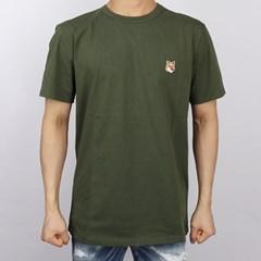 21SS 메종키츠네 폭스헤드 패치 티셔츠 (카키) GM00115KJ0010 KH
