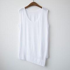 A1623 사선 컷팅 민소매 티셔츠