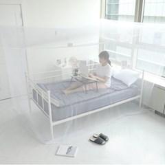 모기차단 침대 간편설치 다인용 사각 모기장텐트 소형_(1340203)