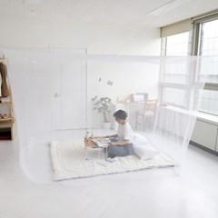 모기차단 침대 간편설치 다인용 사각 모기장텐트 중형_(1340202)