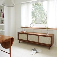마루이 오슬로 라탄 원목 거실장 2000_월넛브라운