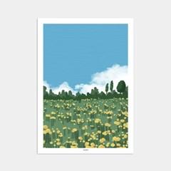 파란하늘 노란꽃 유채꽃 힐링 휴식 인테리어 아트 포스터 그림 액자