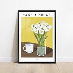 화이트 튤립 하얀꽃 인테리어 아트 포스터 그림 액자