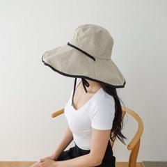 린넨 와이드 배색 챙넓은 데일리 플로피햇 모자
