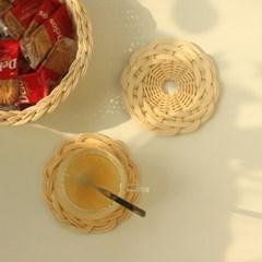 라탄 컵받침 감성 홈카페 티코스터 2P