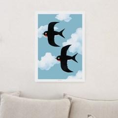 일러스트 포스터 / 인테리어 액자_two swallows 01