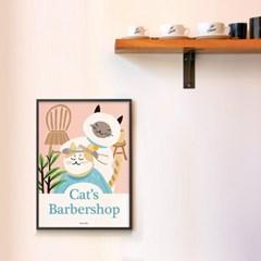 캣츠 바버샵 M 유니크 인테리어 디자인 포스터 고양이