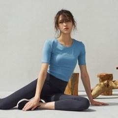 여성 요가복 DEVI-T0040-포그블루 필라테스 반팔티 엣지 크롭 티셔츠