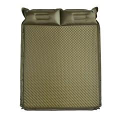 텐트꿀잠 자충식 에어 캠핑매트(190x132) (카키) 베개 확장 차박매트