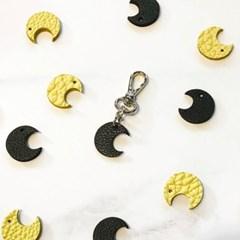 달빛 초승달 가죽 키링 2컬러