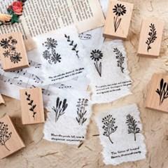꽃 플라워 감성 빈티지 디자인 우드 나무 스탬프 다꾸