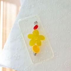 스마일 노랑꽃 폰스트랩 젤리케이스