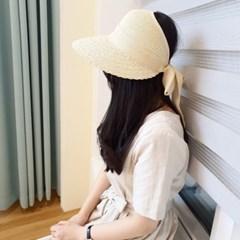 챙넓은 뒤리본 데일리 꾸안꾸 자외선차단 썬캡 모자