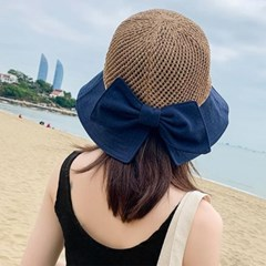 바캉스 휴양지 여름 여성 왕리본 동글 니트짜임햇