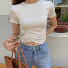 페어 언발 크롭 티셔츠