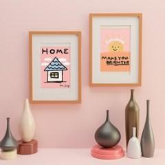 HOME A3 감성포스터, 일러스트포스터, 키즈룸 베이비룸 포스터액자