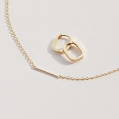 14k Gold Baguette Stick Bar Necklace (14k 골드) a14