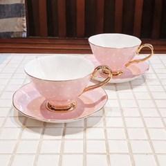 [티로직] 디어 캐서린 2인 컵앤소서 도트(핑크)