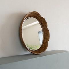 [반짝조명] 라탄 벽걸이 튤립 거울(30cm)