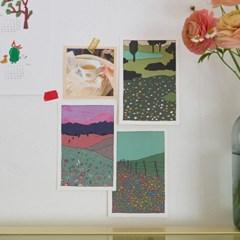 꽃들판 일러스트 엽서 / 인테리어 엽서 (RM 346001_4종 세트)