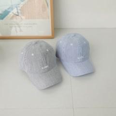 블루 기본 세로줄 챙넓은 꾸안꾸 패션 볼캡 야구모자