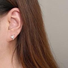 실버925 미니 리본 원터치 링 귀걸이