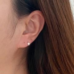 실버925 초미니 큐빅 원터치 링 귀걸이