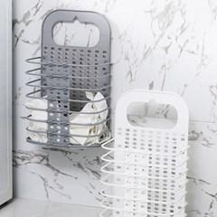 부착식 빨래바구니 접이식 세탁바구니 2가지(화이트)