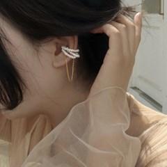 귀 안뚫는 담수 진주 체인 드롭 이어커프 여자 논피어싱