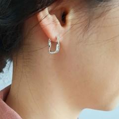 Silver 웨이브 원터치 귀걸이(DJABSE54)