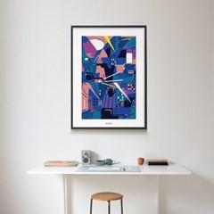블루 시티 M 유니크 인테리어 디자인 포스터