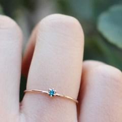 14K 청 다이아몬드 1부 반지