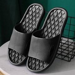 [홈앤트리] 다이아패턴 논슬립 슬리퍼 2켤레 세트(265-270mm) (블랙)