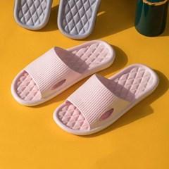 [홈앤트리] 다이아패턴 논슬립 슬리퍼 2켤레 세트(225-230mm) (핑크)