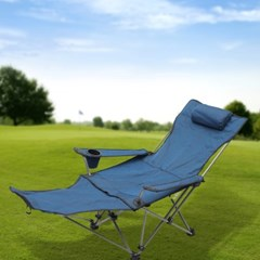 풋레스트 각도조절 접이식 캠핑의자(블루)