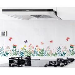 깔끔주방 오염방지 투명 시트지(3Mx60cm) (꽃)
