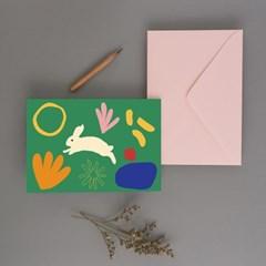 Love Bunny green 엽서 토끼엽서 인테리어엽서 일러스트엽서
