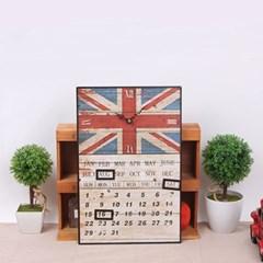 빈티지 영국국기 유니온잭 캘린더 벽시계
