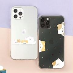 고양이 냥 밍글 투명 클리어 하드 케이스 갤럭시 아이폰 케이스