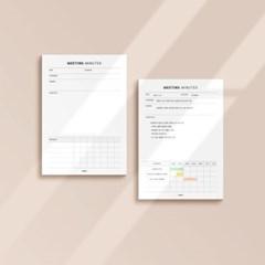 [어른문방구] 회의록 메모지 / 업무 기록 미팅 관리 플래너