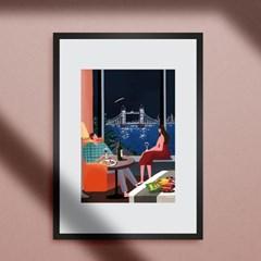 감성 일러스트 인테리어 A2,A3 아트 포스터_런던