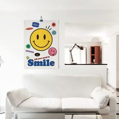 스마일 패브릭 천 포스터 디자인 일러스트 복도 거실 포인트 액자