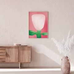 일러스트 꽃 그림 액자 핑크큐물러스