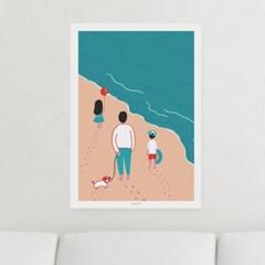 일러스트 포스터 / 인테리어 액자_a walk on the beach 02