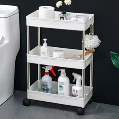 슬림 3단 이동식 틈새선반(폭22cm) (스틸봉) 다용도 욕실선반